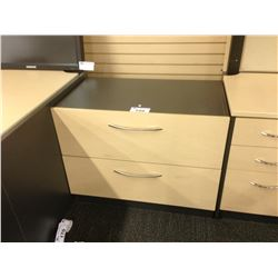 MAPLE AND GREY 2 DRAWER LATERAL FILE CABINET