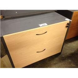 MAPLE AND GREY 2 DRAWER LATERAL FILE CABINET, S2