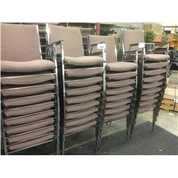 ROSE FABRIC AND METAL FRAME STACKING ARM CHAIRS, LOT OF 44