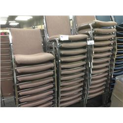 ROSE FABRIC AND METAL FRAME STACKING SIDE CHAIRS, LOT OF 26