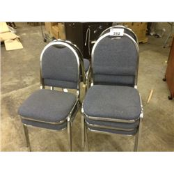 10 BLUE FABRIC AND METAL FRAME STACKING SIDE CHAIRS