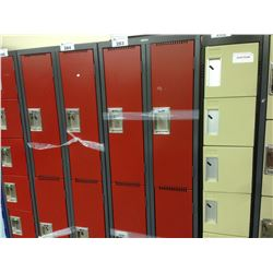 BANK OF 4 HALF HEIGHT LOCKERS, RED