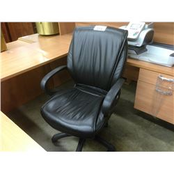 BLACK LEATHER MID BACK TILTER CHAIR