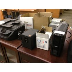 LARGE LOT OF MISC. ELECTRONICS INC. PRINTERS, ROUTERS, UPS POWER SUPPLIES, AND MORE