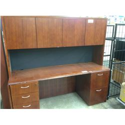 LOT OF ASSORTED OFFICE FURNITURE INC. CREDENZA WITH HUTCH, 4 MAHOGANY CREDENZAS, AND END TABLE