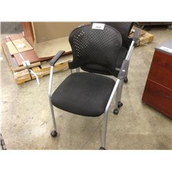 BLACK MOBILE STACKING ARMCHAIR