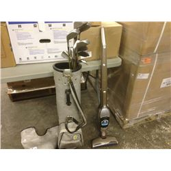 SET OF GOLFCLUBS, VACUUM AND 2 FOLDING TABLES