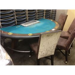 POKER TABLE AND 4 MOBILE CHAIRS