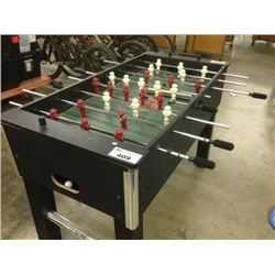 FOOSBALL TABLE.  SOME DAMAGE PRESENT PEASE VIEW