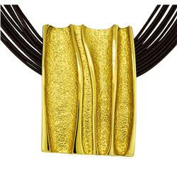 Rectangle Pendant Multi Strand Necklace - Gold Plated