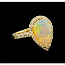 3.17 ctw Opal and Diamond Ring - 14KT Yellow Gold