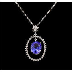 14KT White Gold 3.89 ctw Tanzanite and Diamond Pendant With Chain