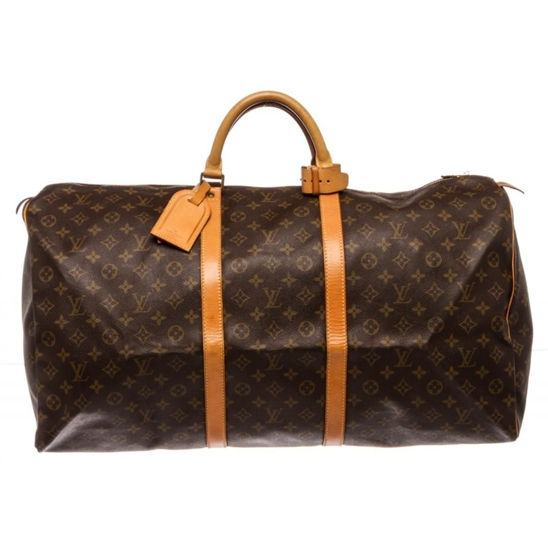 ff009bf410bc Image 1   Louis Vuitton Monogram Canvas Leather Keepall 60 cm Duffle Bag  Luggage ...