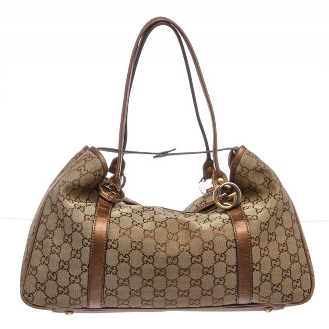 cb68f1fd504 Image 1   Gucci Bronze Monogram Metallic Canvas Leather Trim Shoulder  Handbag ...