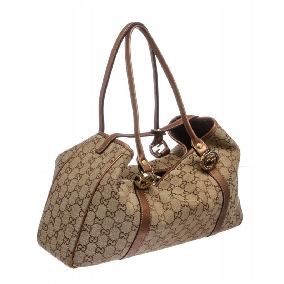 262bb3145fc Gucci Bronze Monogram Metallic Canvas Leather Trim Shoulder Handbag