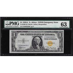 1935A $1 North Africa WWII Emergency Silver Certificate Note PMG CU63
