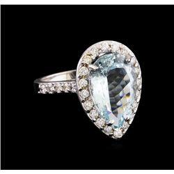 5.58 ctw Aquamarine and Diamond Ring - 14KT White Gold