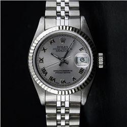 Ladies Rolex Stainless Steel Quickset Slate Grey Roman Datejust Wristwatch