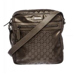 Gucci Taupe Monogram Imprime Leather Messenger bag