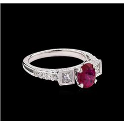 1.06 ctw Ruby and Diamond Ring - 18KT White Gold