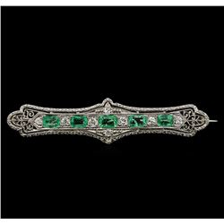 18KT White Gold 1.30 ctw Emerald and Diamond Brooch