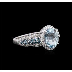 14KT White Gold 1.75 ctw Aquamarine and Diamond Ring