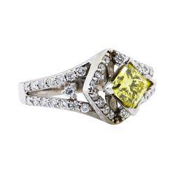 1.20 ctw Yellow and White Diamond Ring - 14KT White Gold