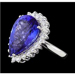 12.77 ctw Tanzanite and Diamond Ring - 14KT White Gold