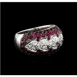 2.00 ctw Ruby and Diamond Ring - 14KT White Gold