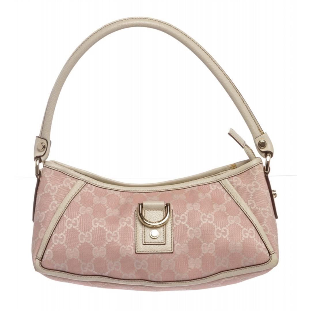 287dab65b90 Image 1   Gucci Pink White Canvas Monogram Small Abbey Shoulder Bag ...