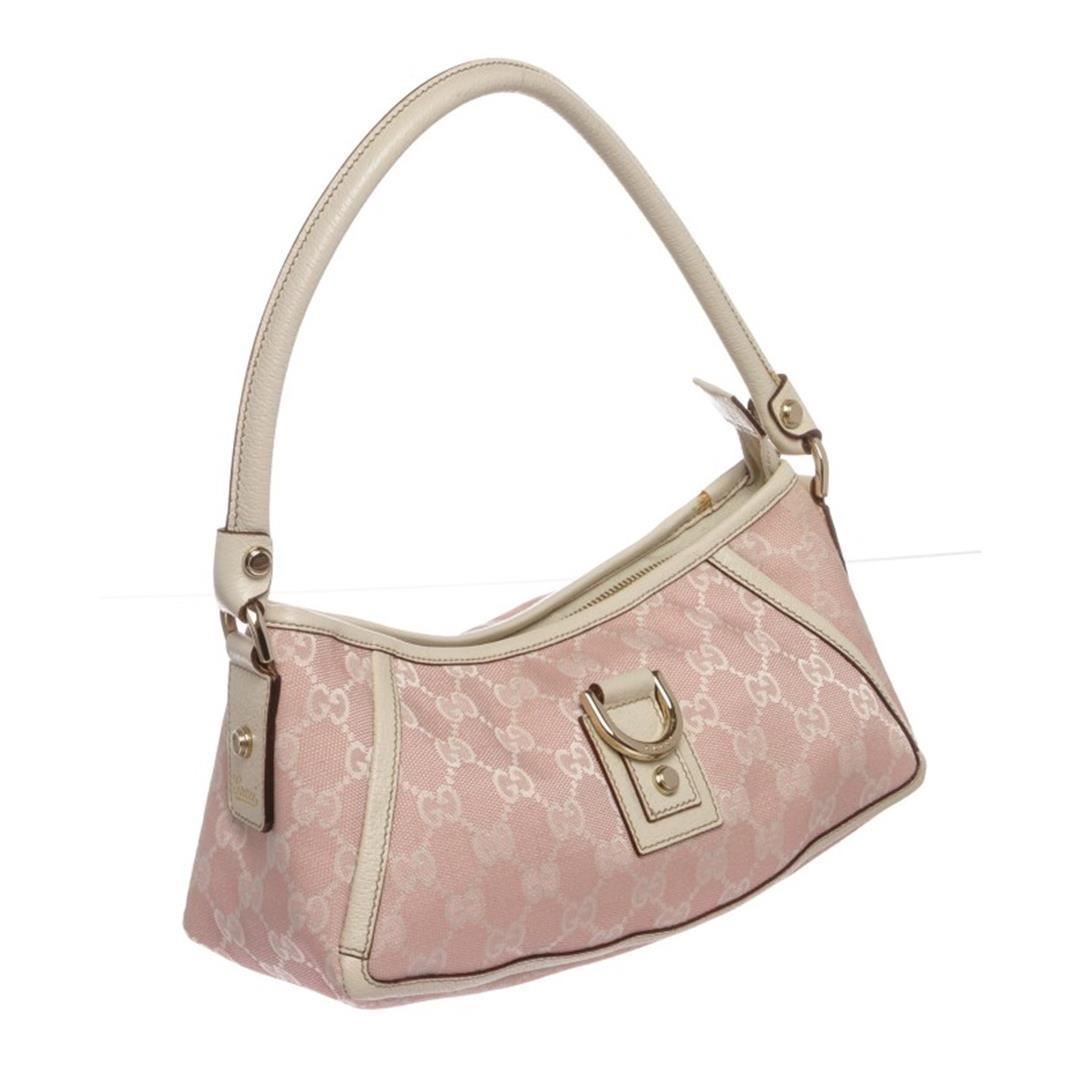 250b67092f0 Gucci Pink White Canvas Monogram Small Abbey Shoulder Bag