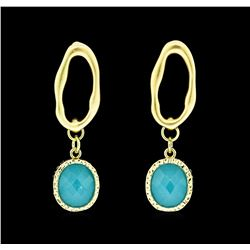 Dangle Oval Post Earrings - Gold Plated
