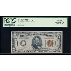 1934A $5 Hawaii Federal Reserve Note PCGS 66PPQ