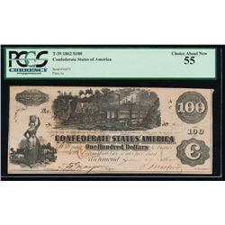 1862 $100 Confederate States of America Note PCGS 55