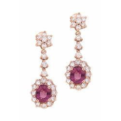14KT Rose Gold 3.13ctw Tourmaline and Diamond Earrings