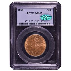 1891 $10 Liberty Head Eagle Gold Coin PCGS MS62 CAC