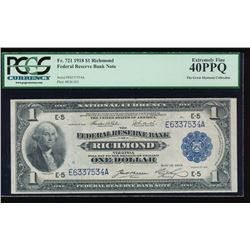 1918 $1 Richmond Large Federal Reserve Bank Note PCGS 40PPQ