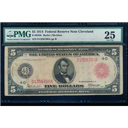 1914 $5 Cleveland Red Seal Note PMG 25