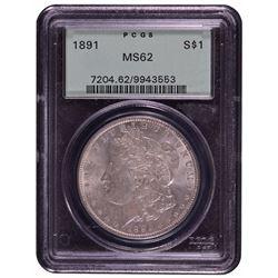 1891 $1 Morgan Silver Dollar Coin PCGS MS62
