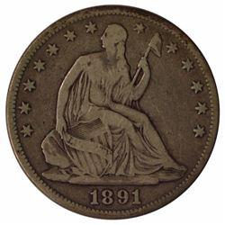 1891 Seated Liberty Half Dollar Coin