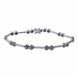 14KT White Gold 1.87ctw Blue Sapphire and Diamond Bracelet