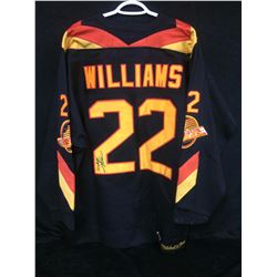 """DAVE """"TIGER"""" WILLIAMS AUTOGRAPHED """"MITCHELL & NESS"""" VANCOUVER CANUCKS HOCKEY JERSEY"""