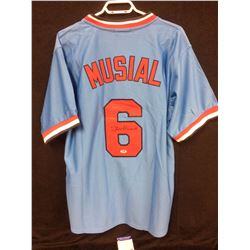 "STAN MUSIAL AUTOGRAPHED ""MITCHELL & NESS"" CARDINALS BASEBALL JERSEY W/ PSA COA"