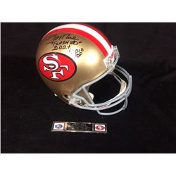 """JERRY RICE AUTOGRAPHED 49ER'S FULL SIZED FOOTBALL HELMET INSCRIBED """"FLASH 80"""" G.O.A.T 2010 HOF"""