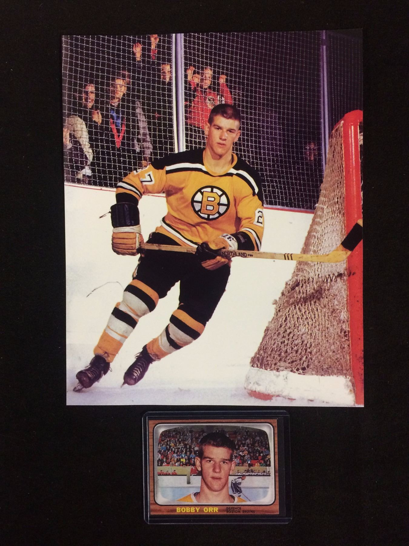 Bobby Orr 8 X 10 Photo With Bobby Orr Rookie Card Reprint