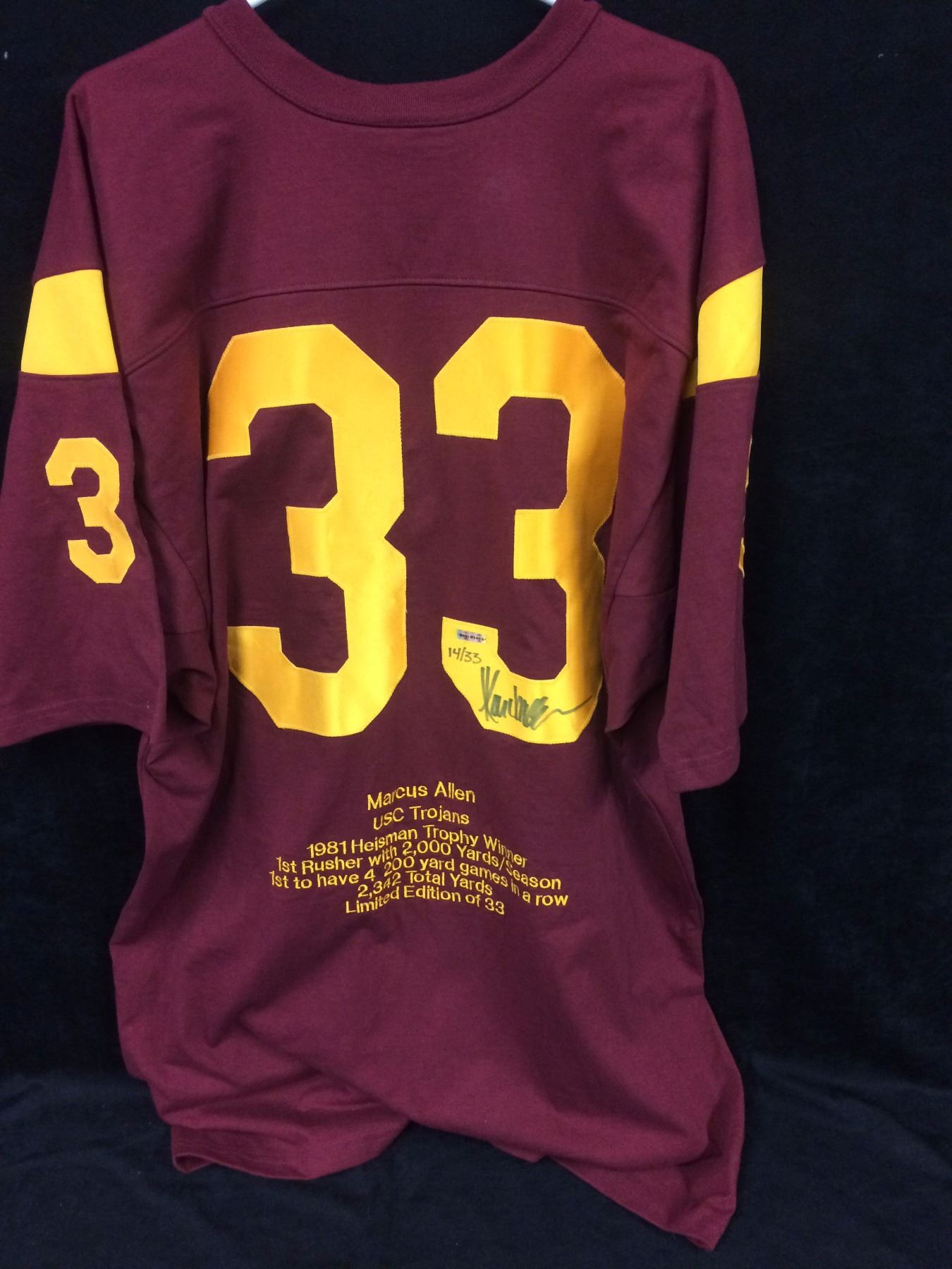 on sale f04bc 7ef30 LIMITED EDITION AUTOGRAPHED MARCUS ALLEN USC TROJANS JERSEY W COA