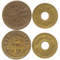 Two Nevada Tokens (Caliente and Delamar)