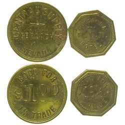 Two Nevada Mining Camp Tokens (Gerlach & Golconda)