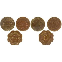 Three Goldfield, Nevada Bakery Tokens