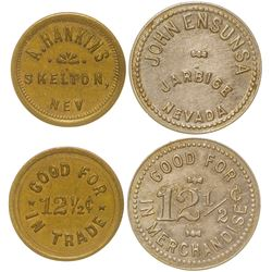 Two Scarce Nevada Town Tokens (Jarbidge and Skelton)